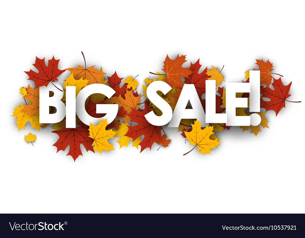 Big sale banner with maple leaves