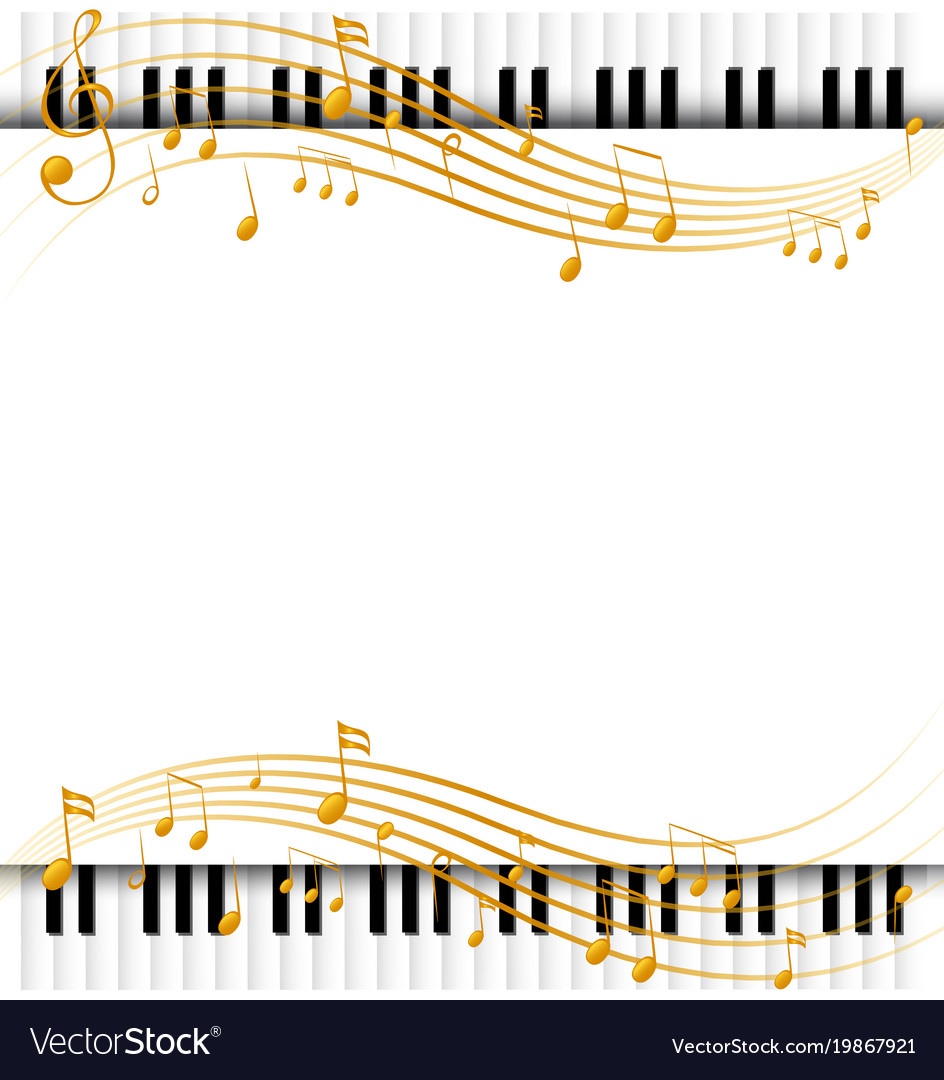 Border Template With Piano Keyboards And Vector Image