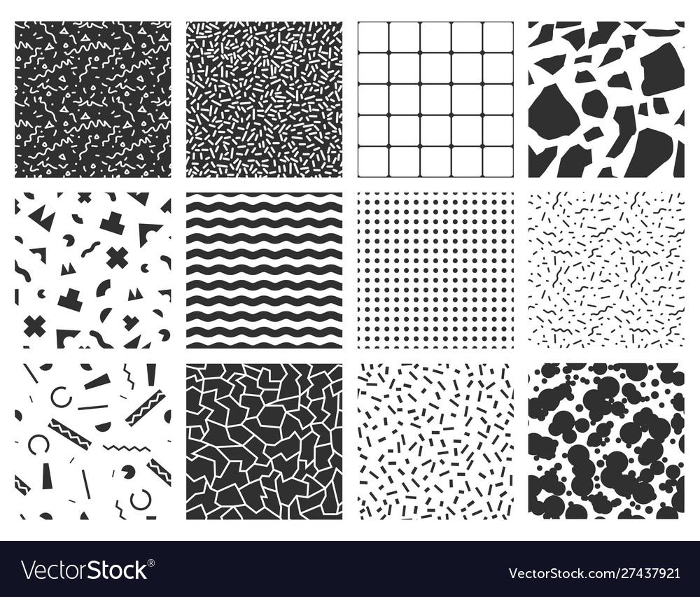 Collection retro memphis patterns