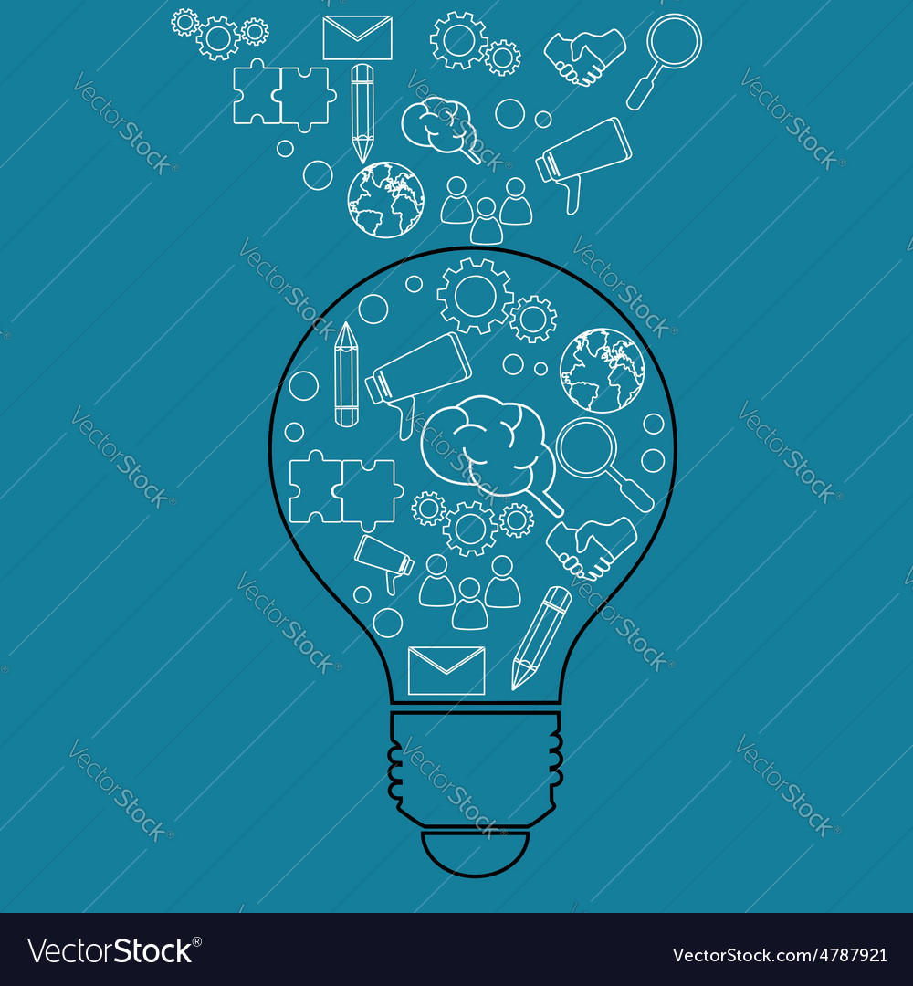 Creative lightbulb idea and business icons vector image