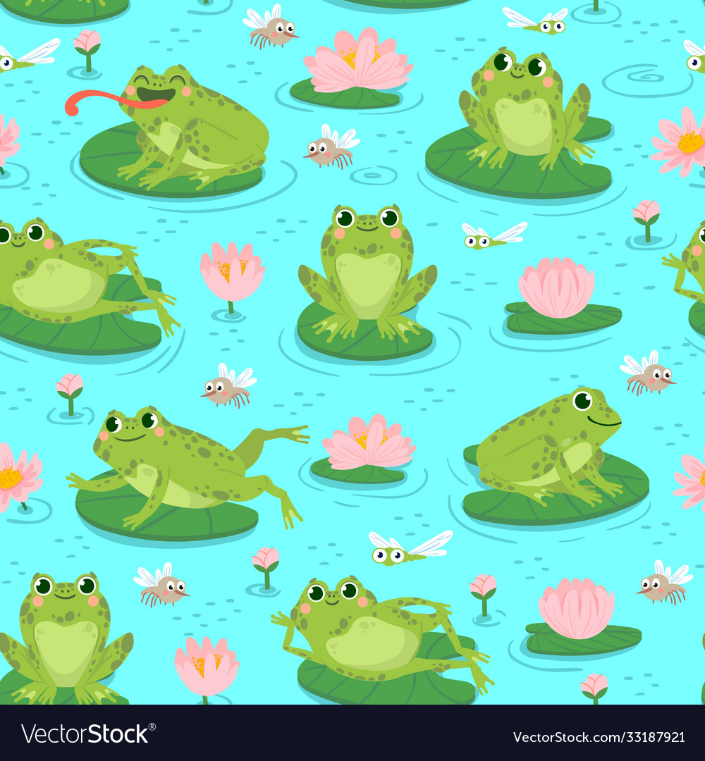 Frog seamless pattern repeating cute frogs and
