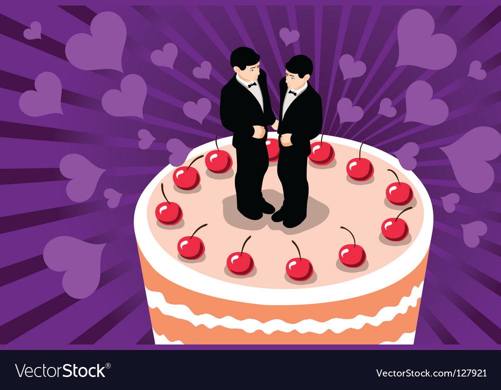 Description: Gay wedding cake with 2 men