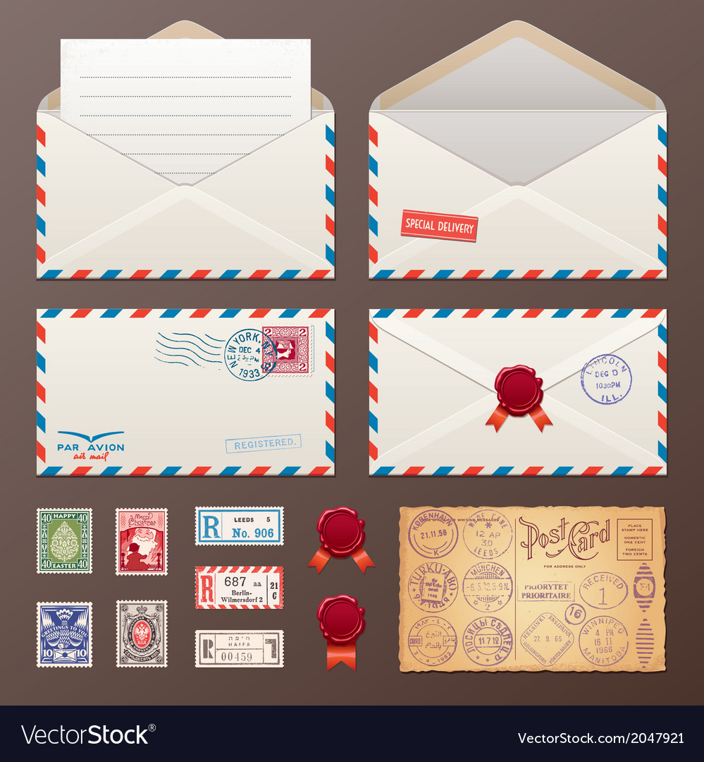 Mail Envelope Stickers Stamps And Postcard
