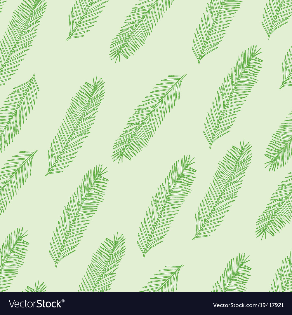 Seamless pattern with christmas tree branch on