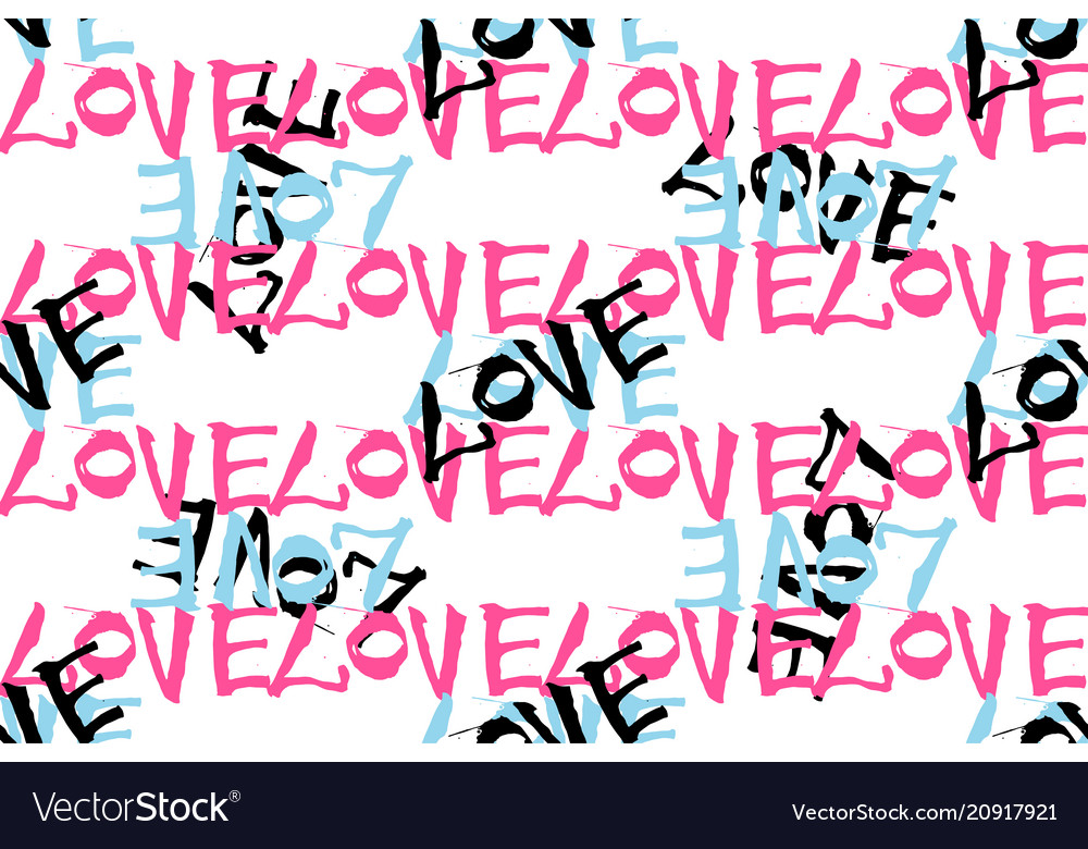 Seamless pattern with hand written lettering love
