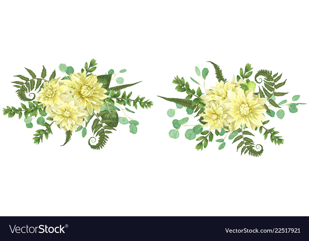 Set of autumn bouquets with yellow dahlias fern