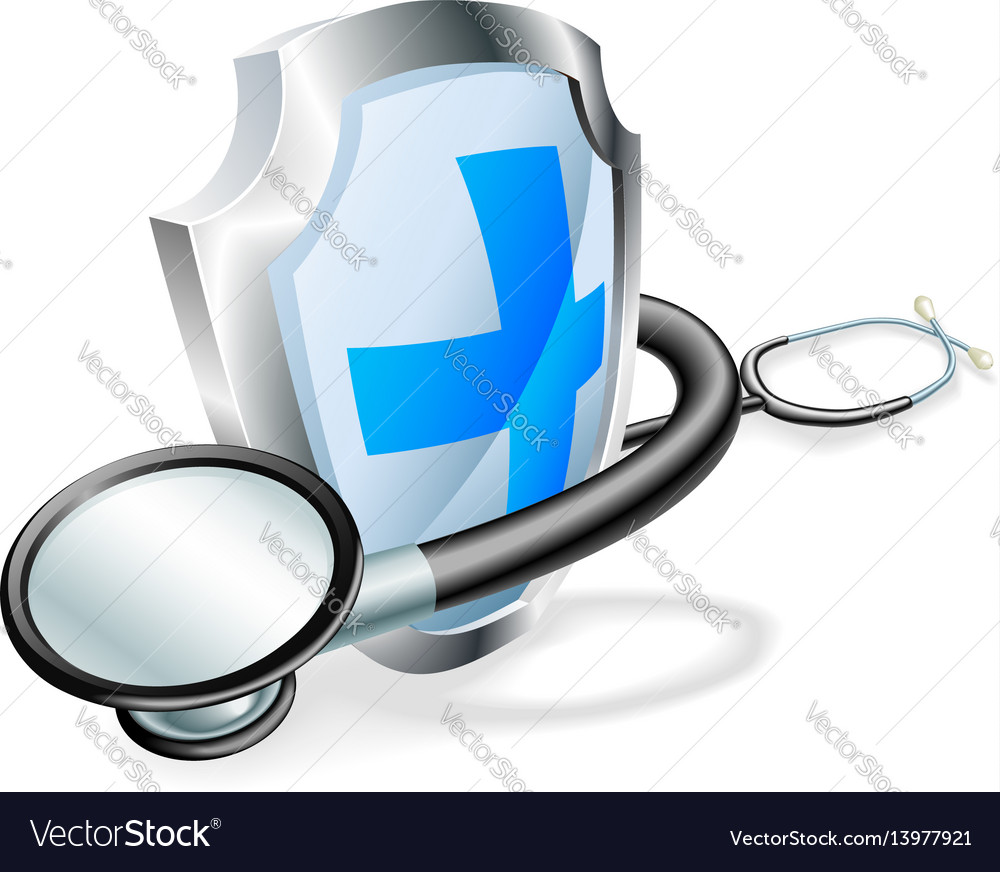 Shield stethoscope medical concept vector image