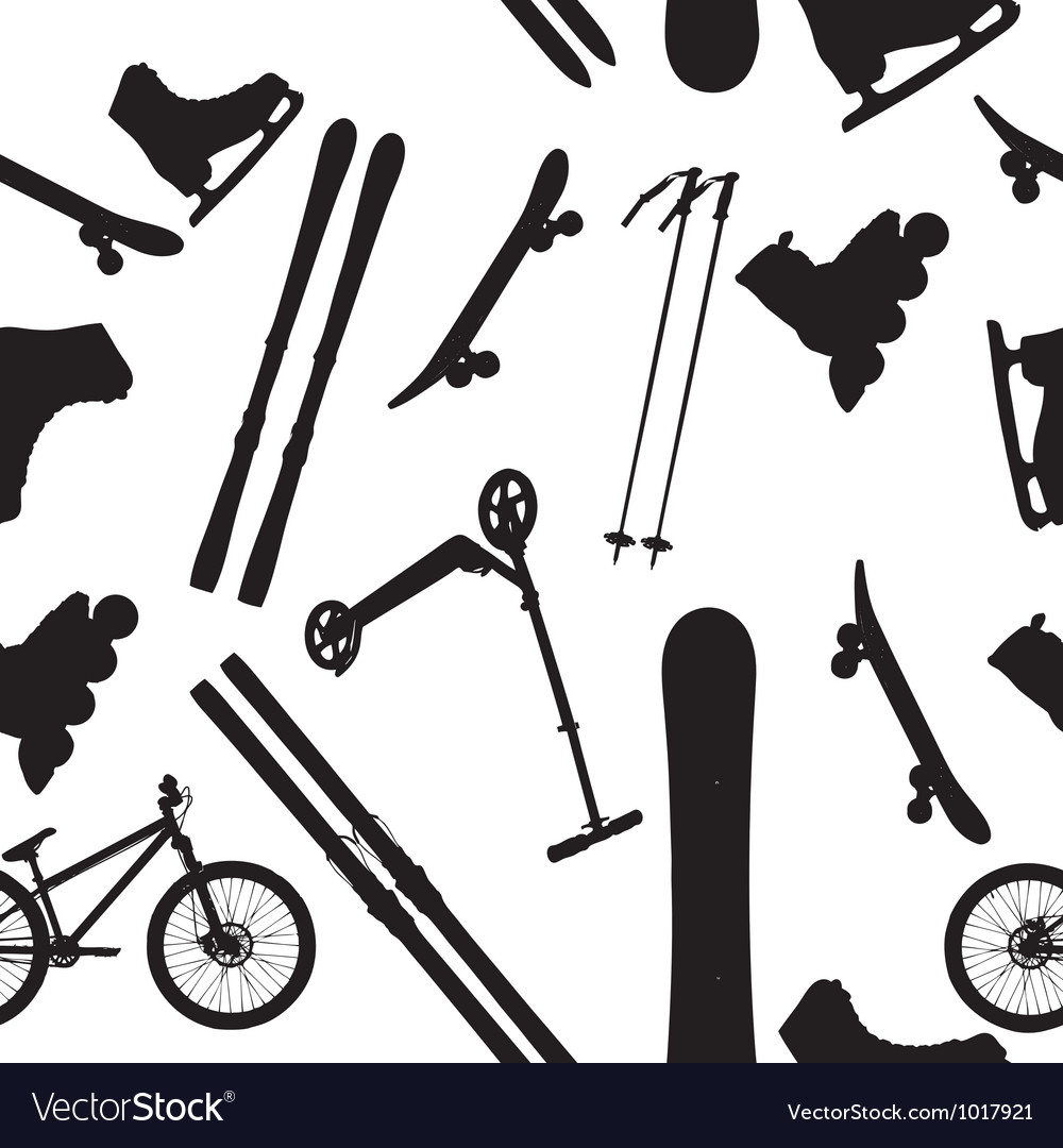 Sports Equipment silhouette seamless pattern