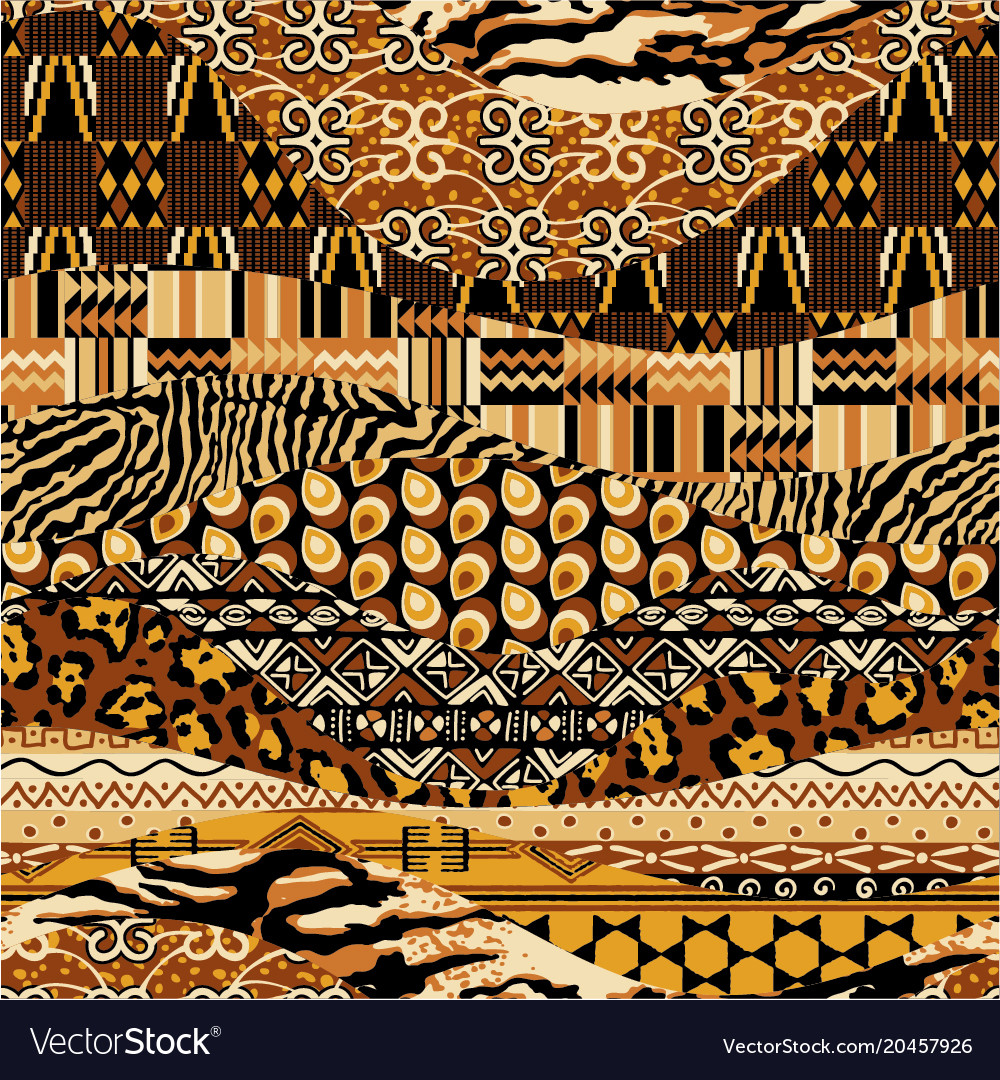African style fabric patchwork background