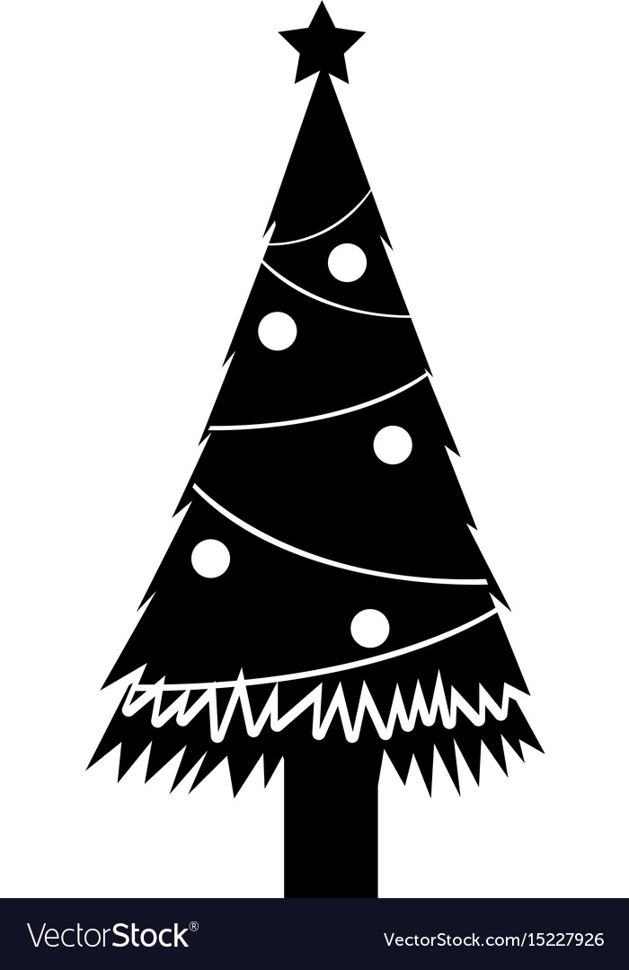 Black Icon Christmas Tree Cartoon