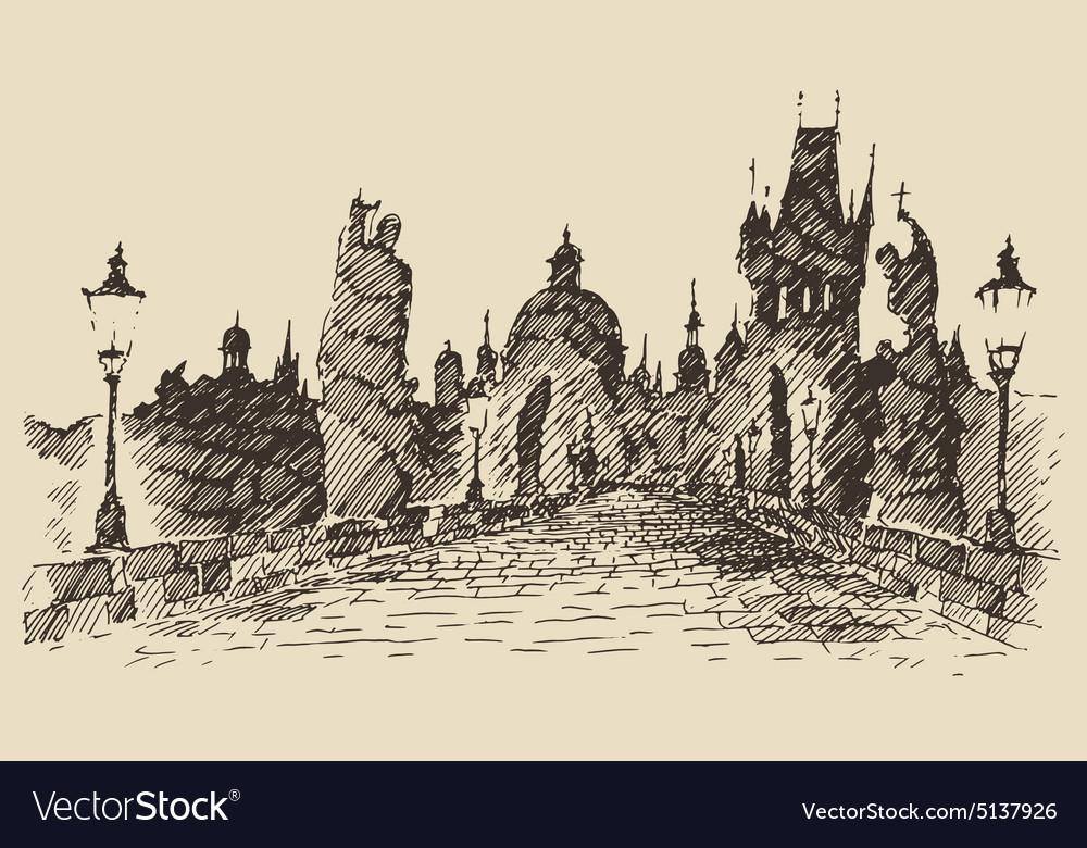 Charles Bridge Prague Czech Republic vintage vector image