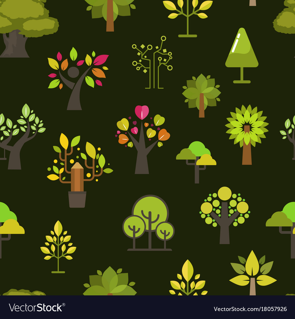 Green tree seamless pattern background green