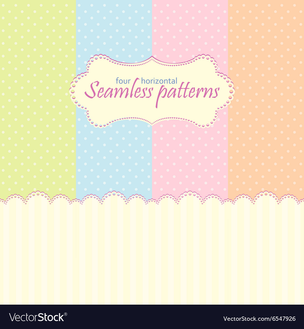Horizontal seamless patterns in pastel colors