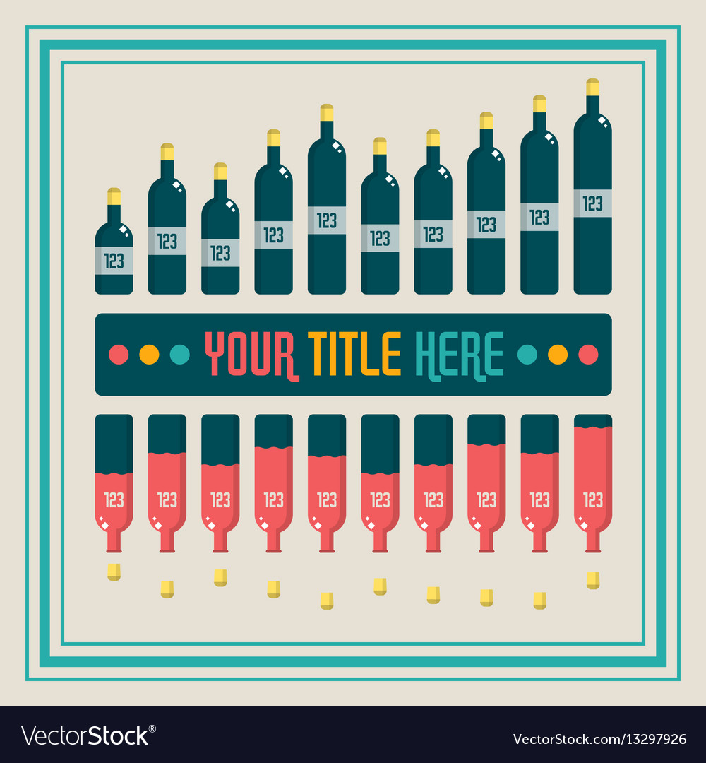 Infographics elements wine bottle bar chart