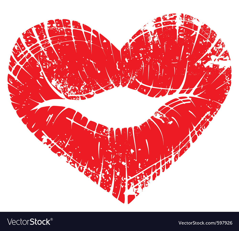 Lip print heart vector image