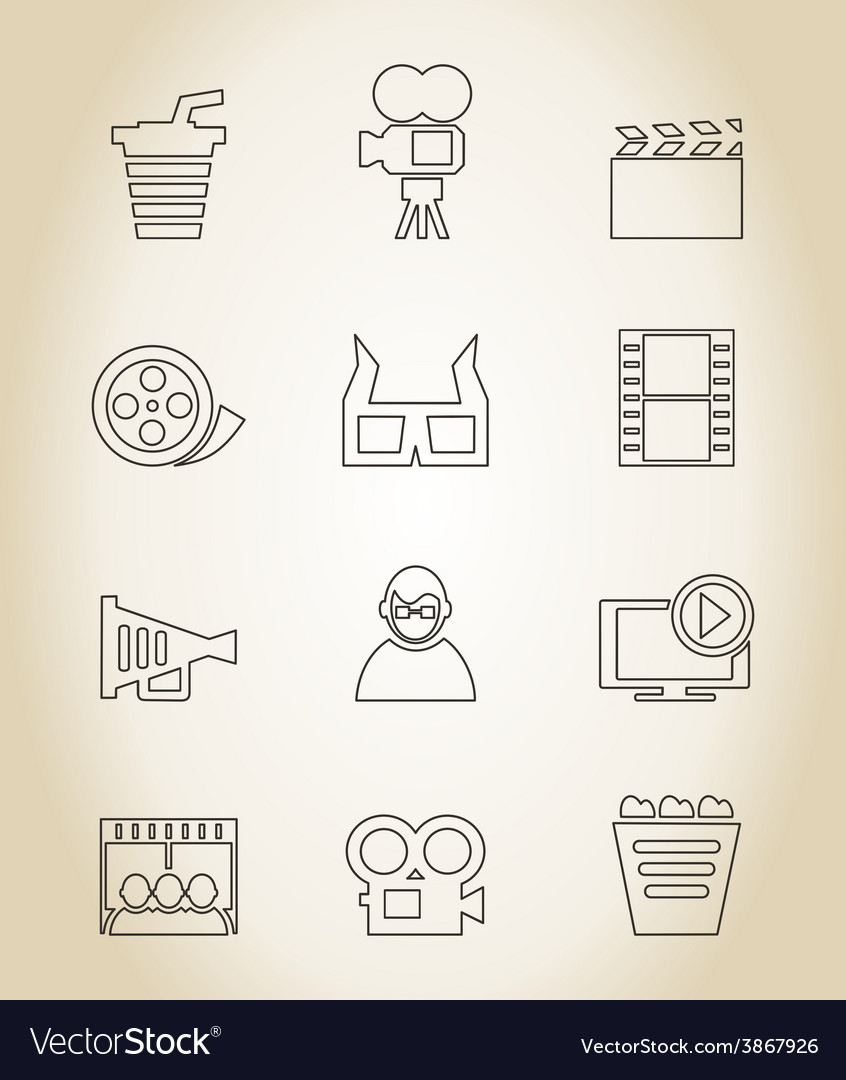 Movie outline icon vector image