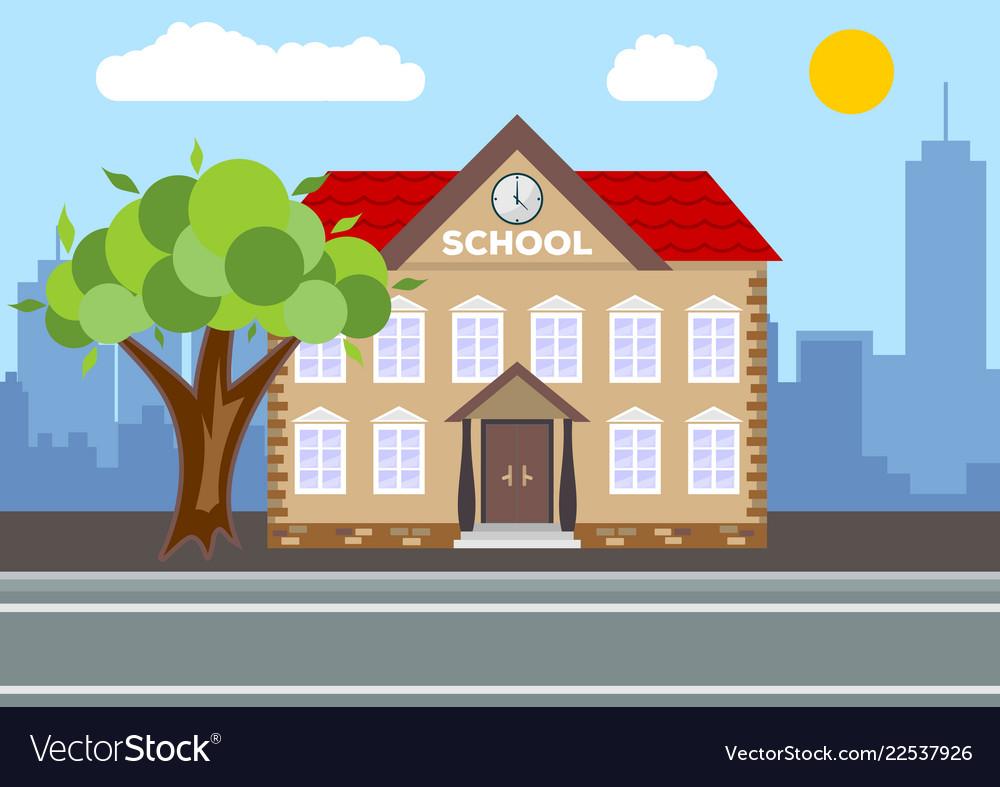 School building city landscape concept