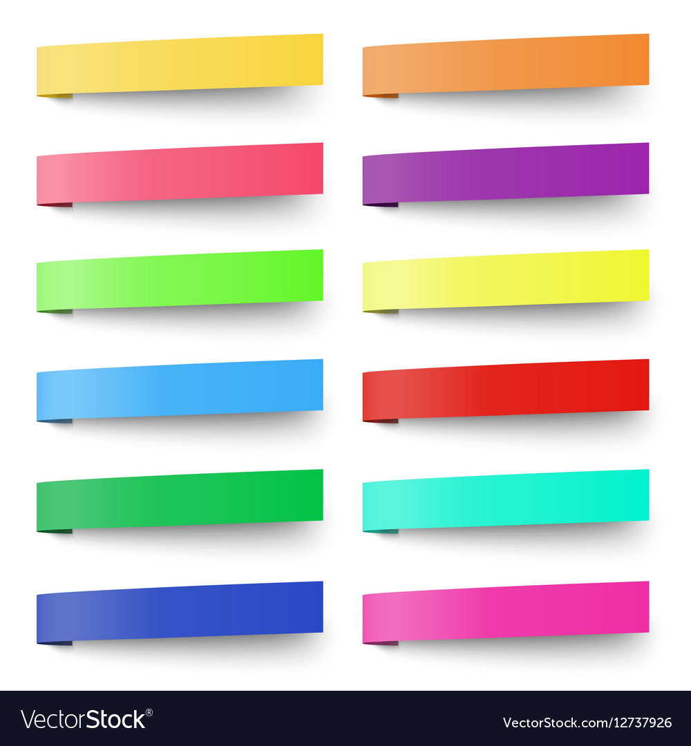 Set of color sticky notes stickers isolated