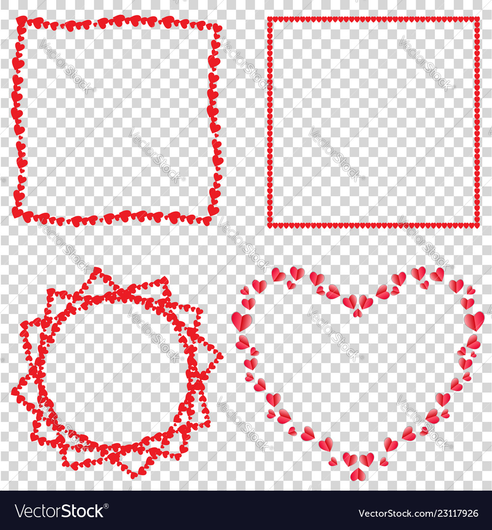 Set of cute red love hearts frames for valentines