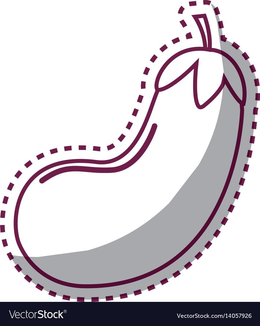 Sticker silhouette health eggplant vegetable icon
