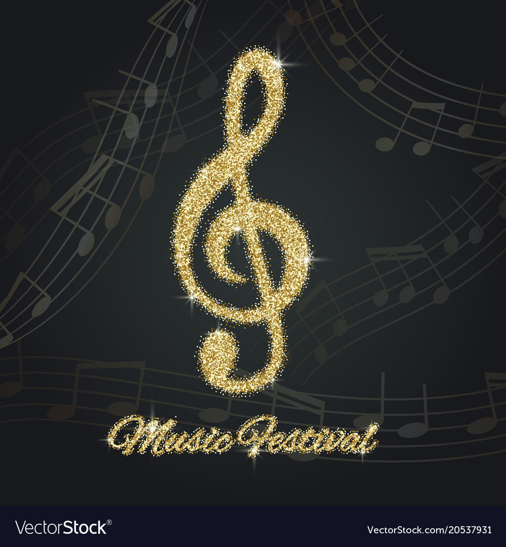 Abstract Background With Gold Music Notes And A