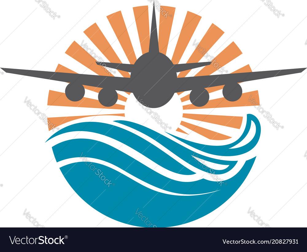 Airplane sun and sea icon