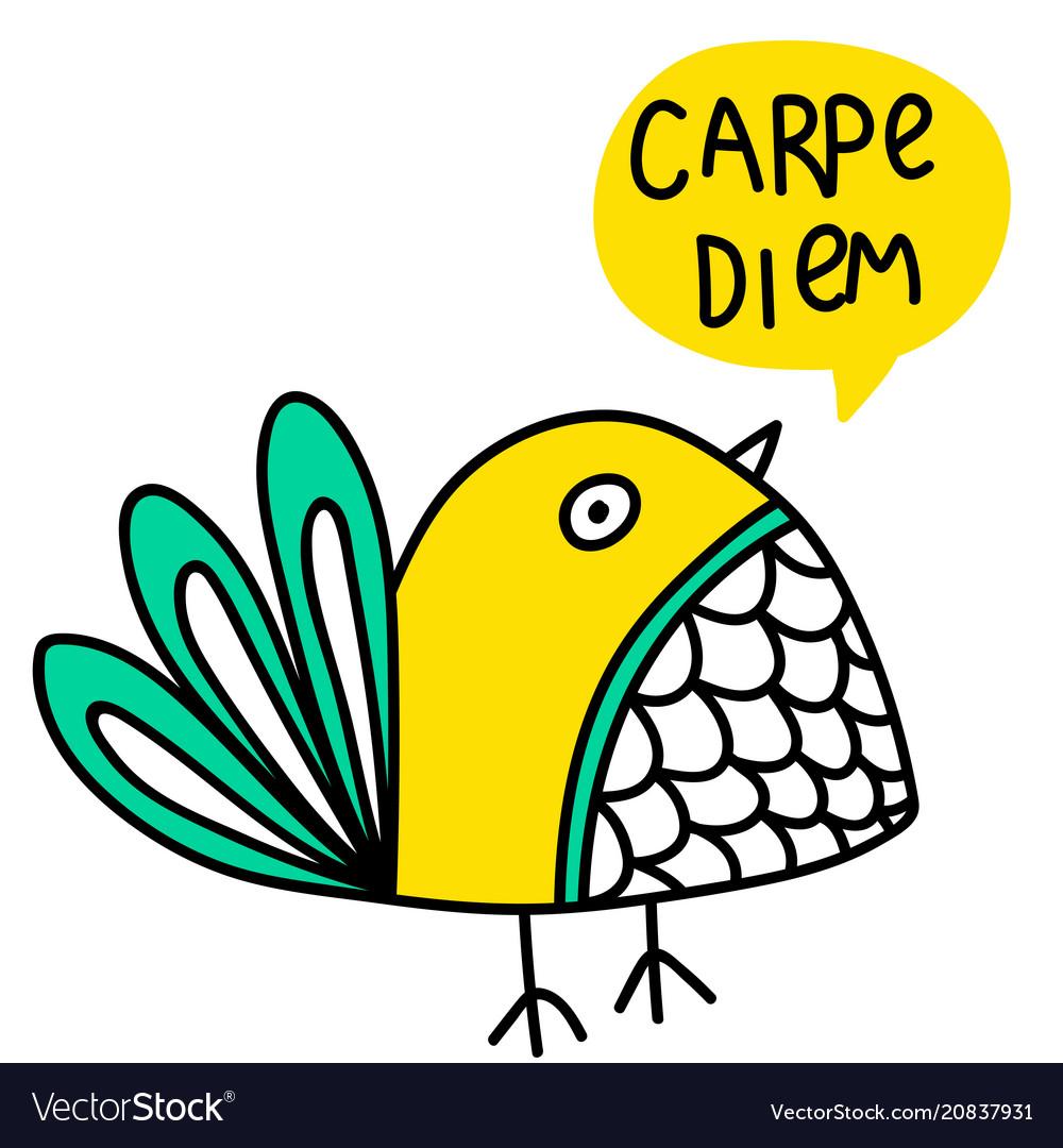 Carpe Diem Lettering And Bird Doodle Royalty Free Vector
