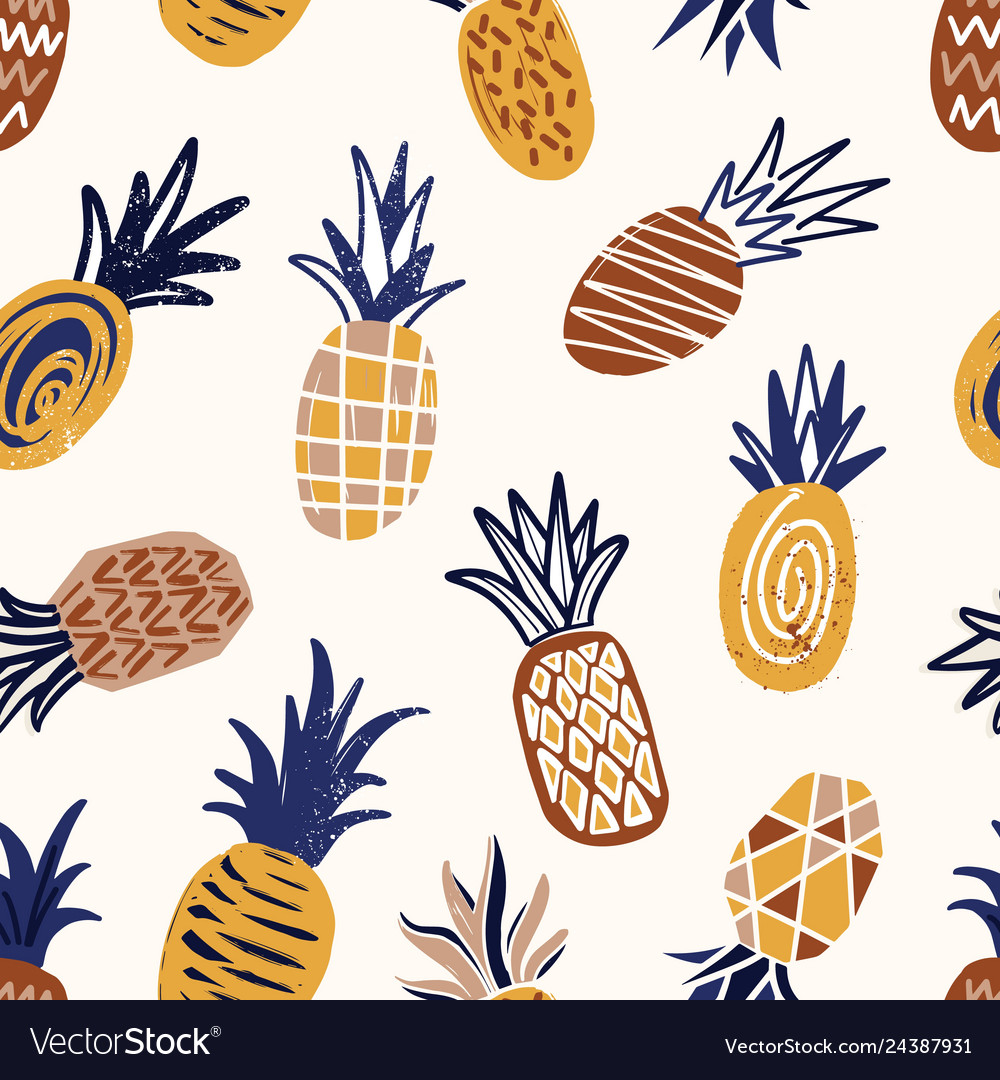 Cool seamless pattern with textured pineapples on