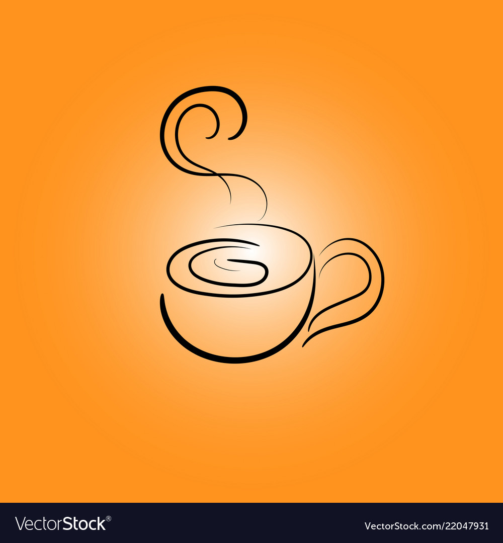 Cup line icons on an orange gradient background