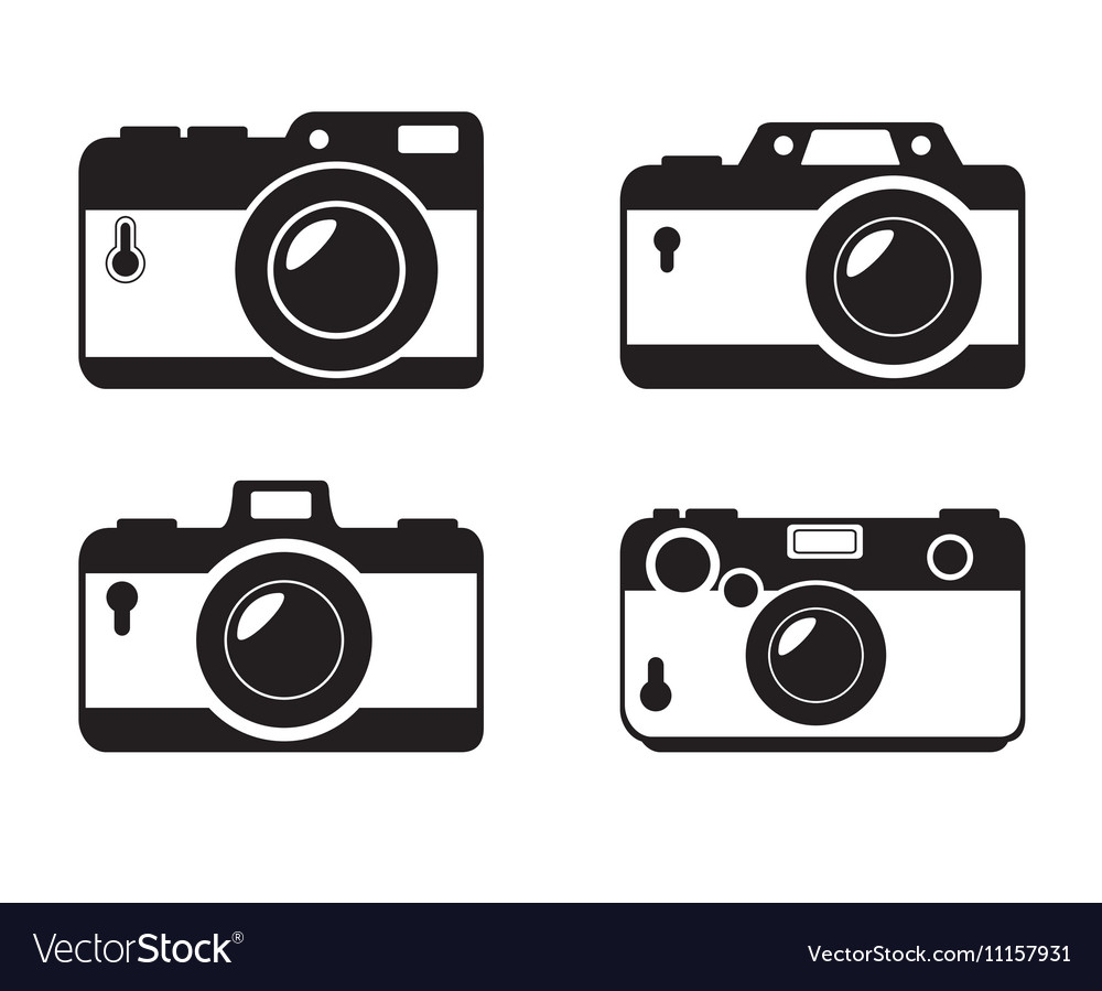 Different style camera photographic monochrome vector image