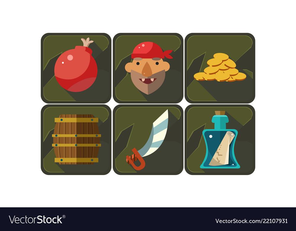 Flat set of pirate game symbols bomb