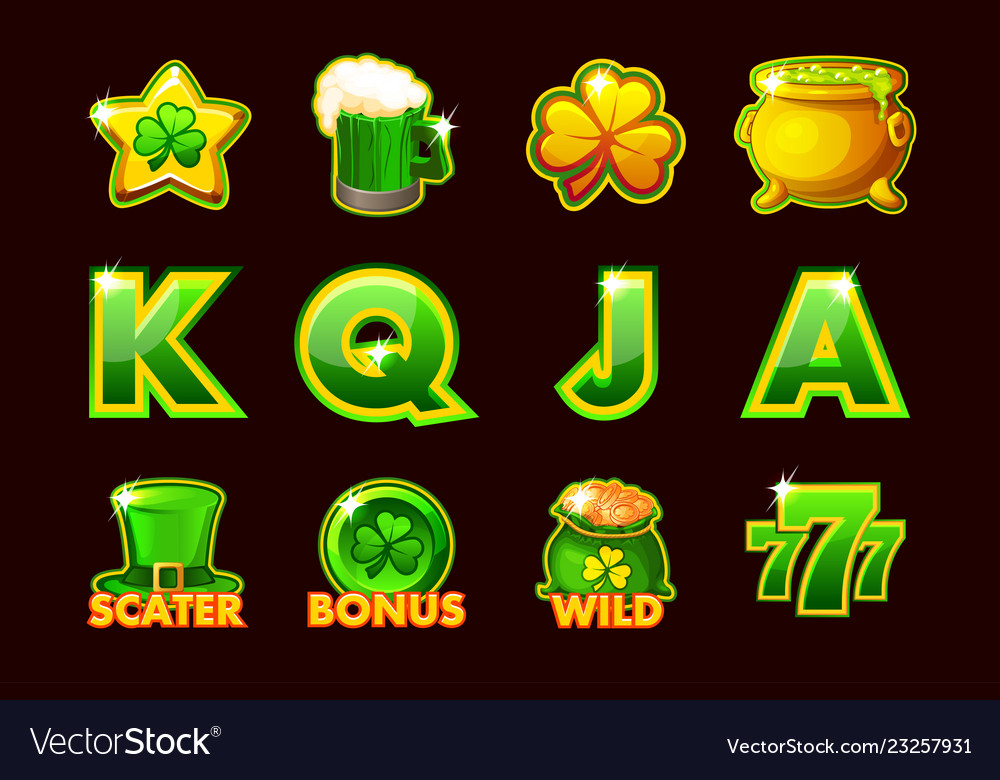 Gaming icon of stpatrick symbols for slot