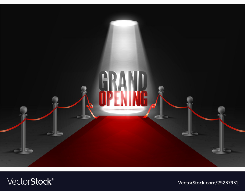 Grand opening event banner in spotlights red
