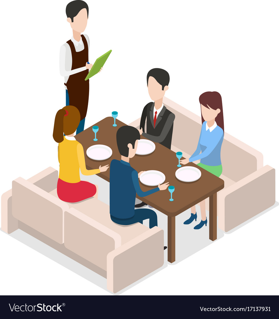 in restaurant waiter with notebook taking order vector image