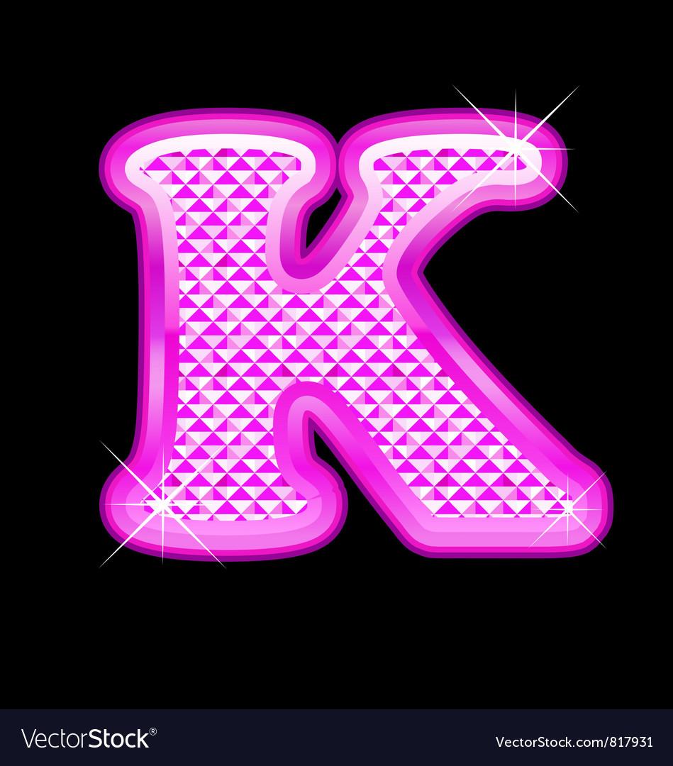 K letter pink bling girly vector image