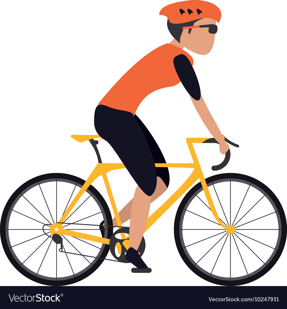 person riding bike with helmet icon royalty free vector