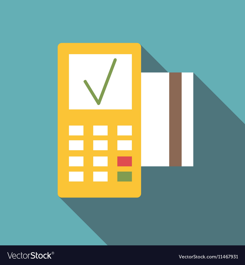 POS terminal icon flat style vector image