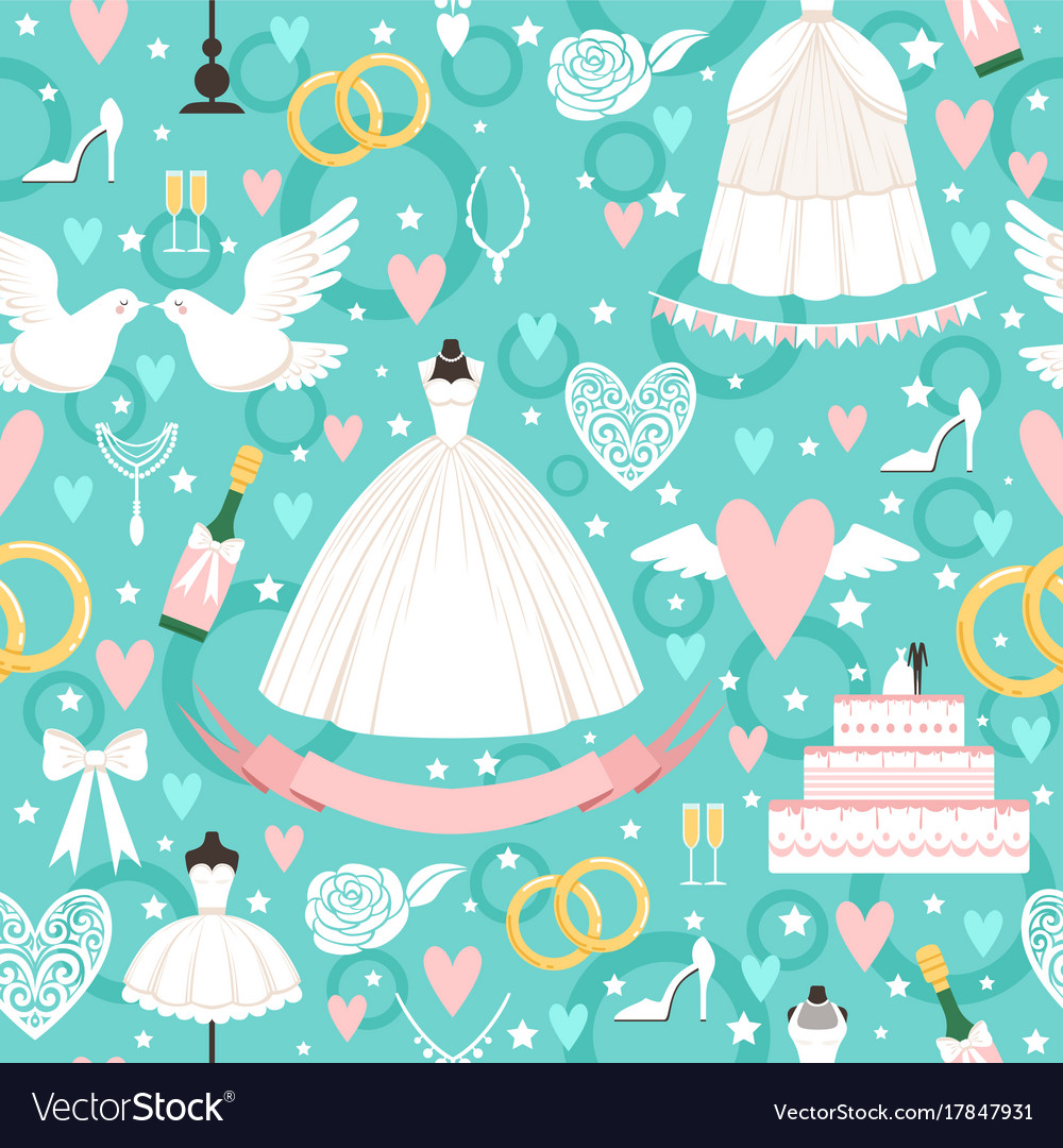 Seamless pattern with different wedding symbols in