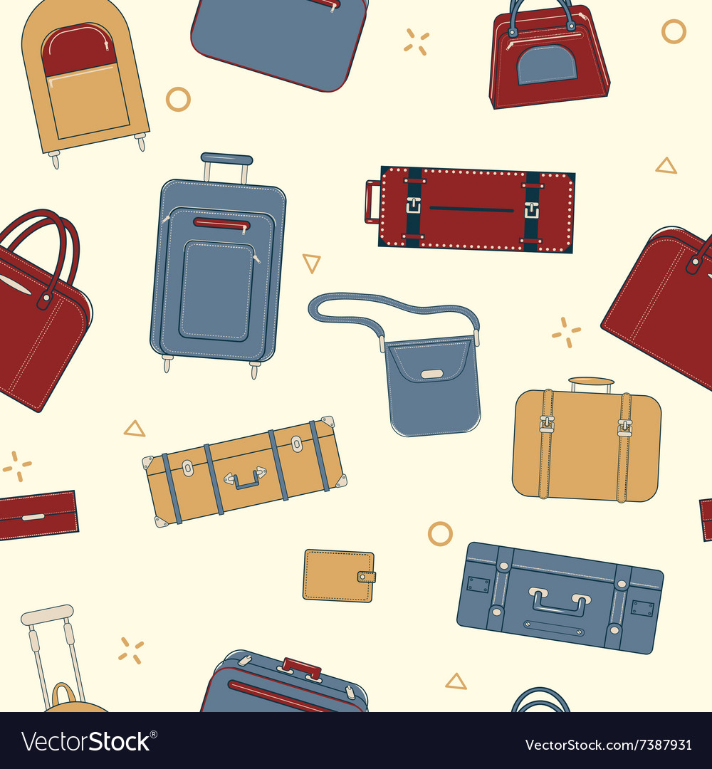 Seamless Travel Pattern with Baggage