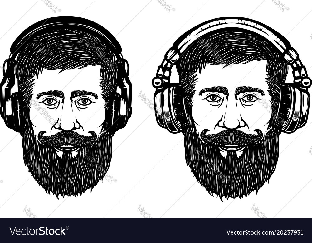Set of hipster head with headphones design