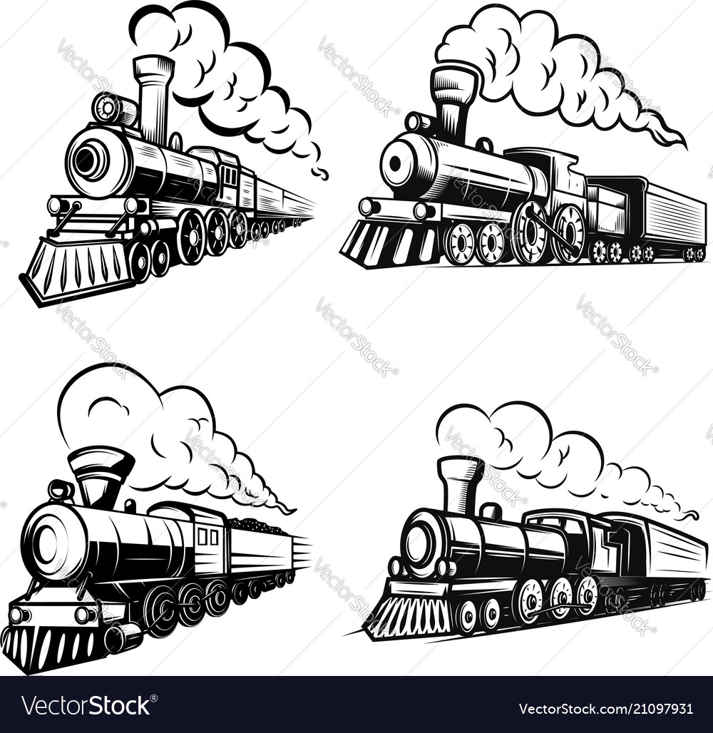 Set of retro locomotives on white background