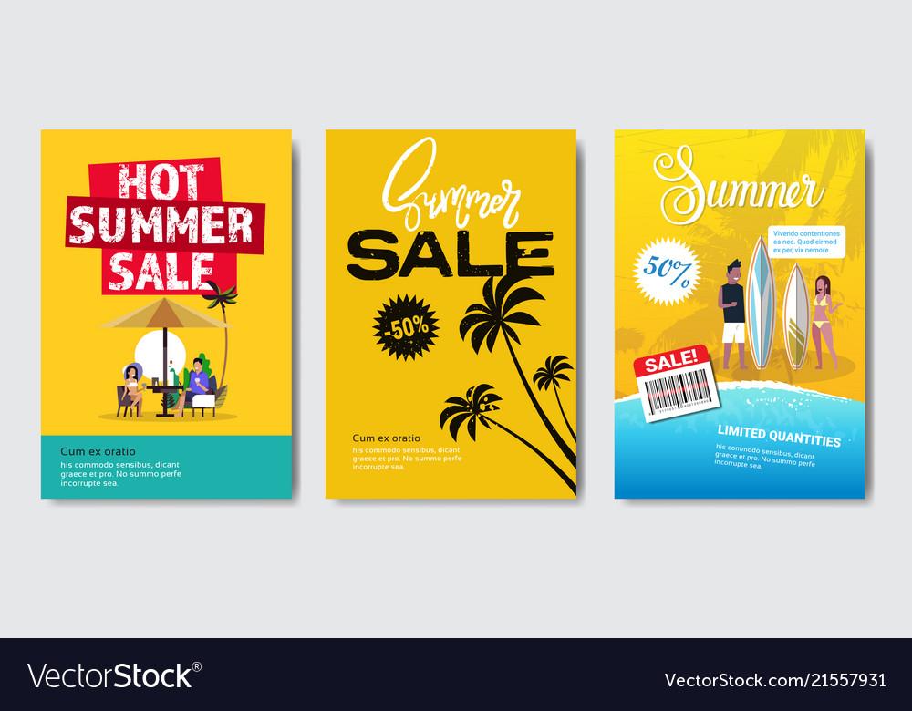 Set summer sale tropical palm surf vacation design