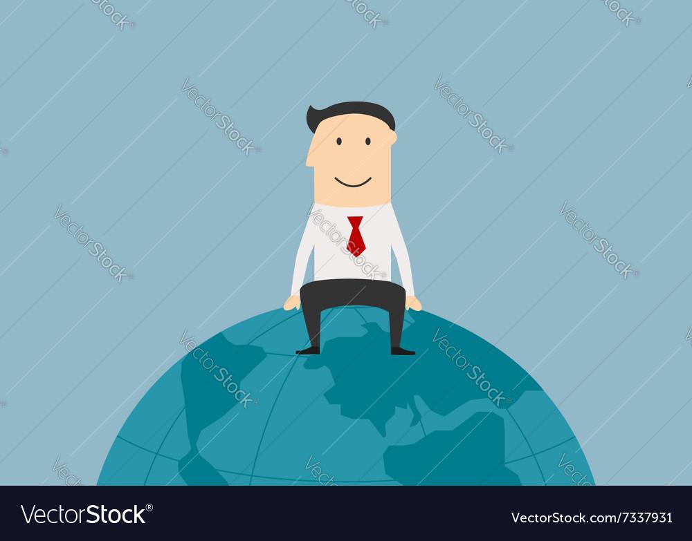 Successful businessman sitting on the earth globe