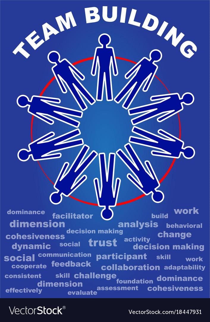 team building presentation leaflet flyer with vector image