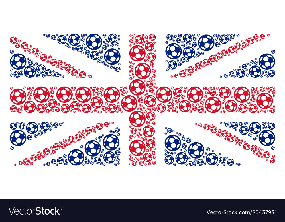 Uk flag mosaic of football ball icons vector image