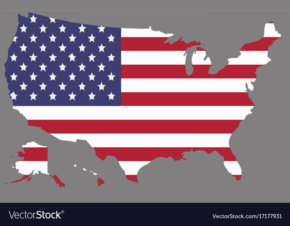 United States Map With The American Flag Vector Image - American-flag-us-map