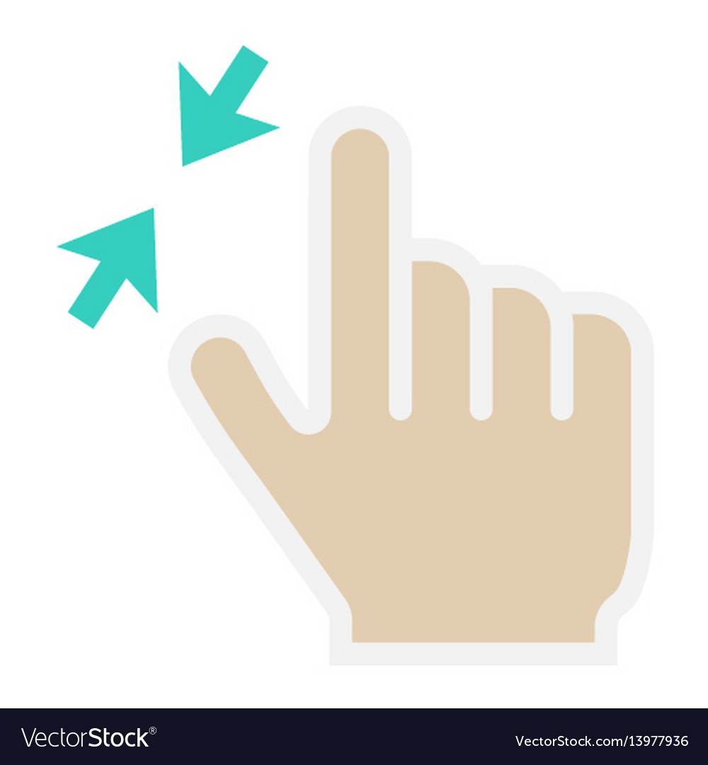 2 finger zoom out flat icon touch and gesture