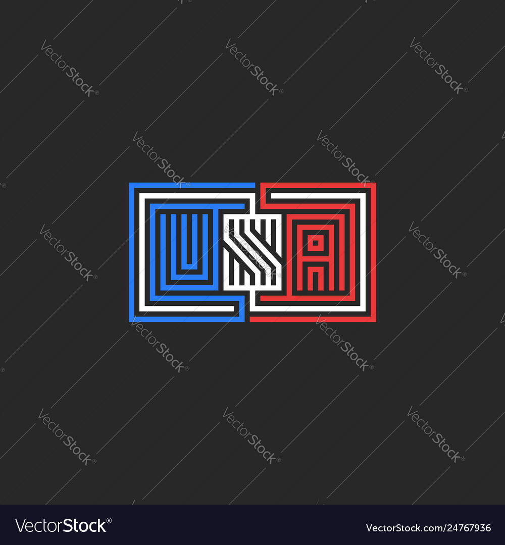 Abbreviation usa logo emblem for t-shirt print or