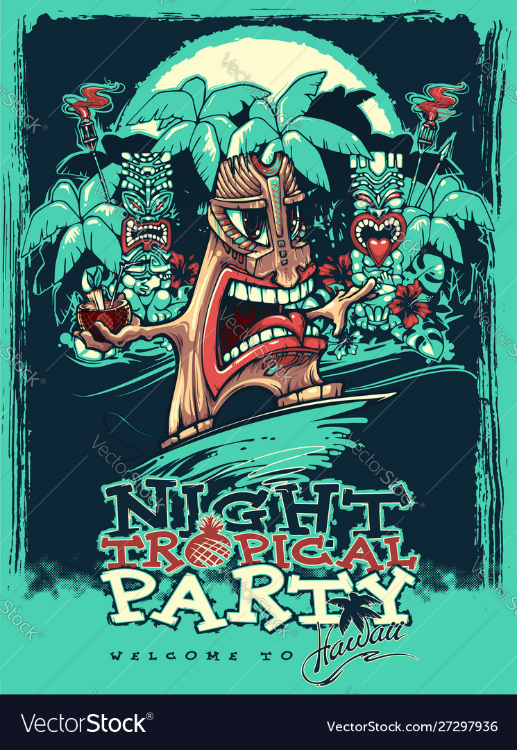Banner for tiki tropical party