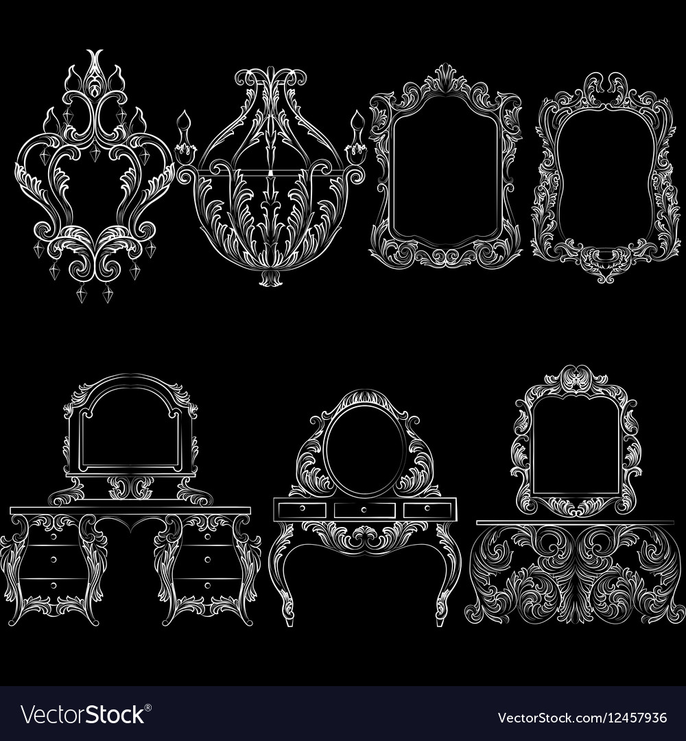 Baroque Furniture Set Royalty Free Vector Image